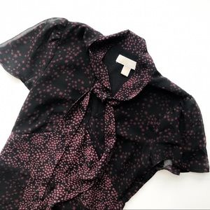 Merlot Black Star Chiffon Tie Dress sz XS